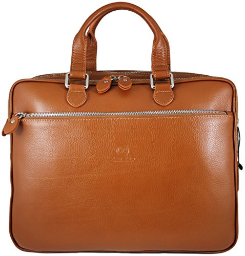 403f3184a764 Men's Rikard Genuine Leather Business Briefcase Messenger Bag Tan