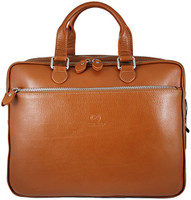 Men's Rikard Genuine Leather Business Briefcase Messenger Bag Tan