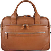 Men's Anton Luxury Genuine Leather Business Briefcase Messenger Bag Tan