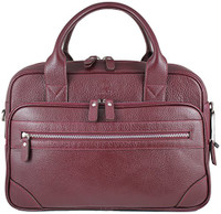 Zavelio Men's Anton Luxury Genuine Leather Business Briefcase Messenger Bag Burgundy