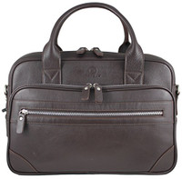 Men's Anton Luxury Genuine Leather Business Briefcase Messenger Bag Brown