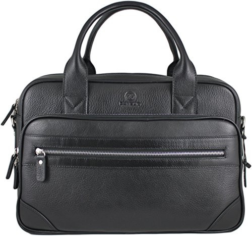 db7ad38a54 Men's Anton Luxury Genuine Leather Business Briefcase Messenger Bag Black