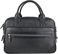 Men's Anton Luxury Genuine Leather Business Briefcase Messenger Bag Black