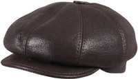 Men's Leather Shearling Sheepskin 8 Panel Ivy Driving Cap  Brown