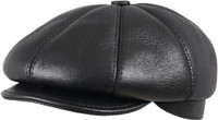 Men's Leather Shearling Sheepskin 8 Panel Ivy Driving Cap Black