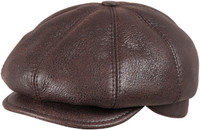 Men's Leather Shearling Sheepskin 8 Panel Ivy Driving Cap  Cashmere