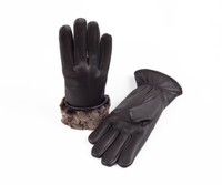 Women's Premium Shearling Sheepskin Fur Lined Leather Gloves Brown