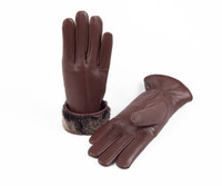 Women's Premium Shearling Sheepskin Fur Lined Leather Gloves Burgundy