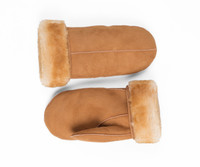 Men's Premium Shearling Sheepskin Leather Fur Mittens Tan
