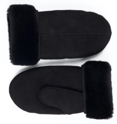 sheepskin mittens black suede