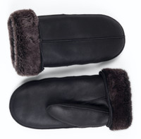 sheepskin mittens black