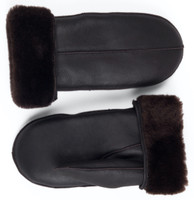 sheepskin mittens brown