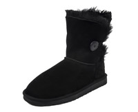 sheepskin boots with button Black Suede