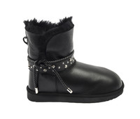 Women's Genuine Sheepskin Boots with Detailed Belt Black 1