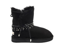 Women's Genuine Sheepskin Boots with Detailed Belt Black Suede 1