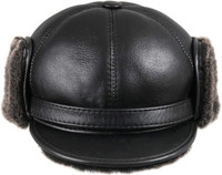 Shearling Sheepskin Elmer Fudd Winter Fur Visor Hat - Black