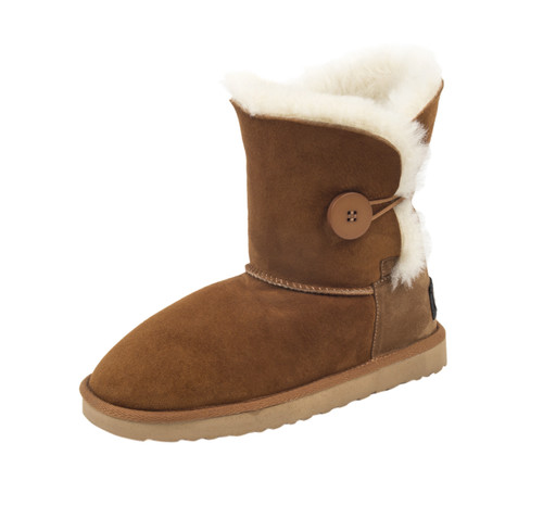 sheepskin boots with buttons chestnut color