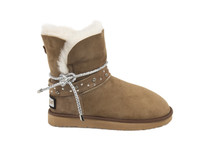 sheepskin boots with belt in sand color