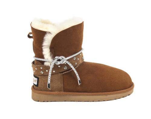 Sheepskin Boots with Detailed Belt - Chestnut