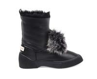 Women's Genuine Sheepskin Boots with Fox Fur Pom Pom - Black