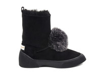 Women's Genuine Sheepskin Boots with Fox Fur Pom Pom - Black Suede