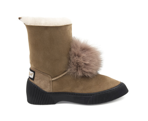 Women's Genuine Sheepskin Boots with Fox Fur Pom Pom - Sand