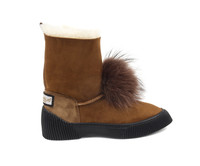 Women's Genuine Sheepskin Boots with Fox Fur Pom Pom - Chestnut