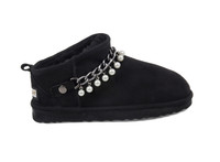 Women's Genuine Sheepskin Slipper - Black Suede