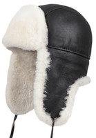 Shearling Sheepskin Aviator Fur Hat - Brown/Beige