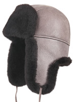 Shearling Sheepskin Aviator Winter Fur Hat - Gray