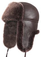 Shearling Sheepskin Aviator Winter Fur Hat - Brown
