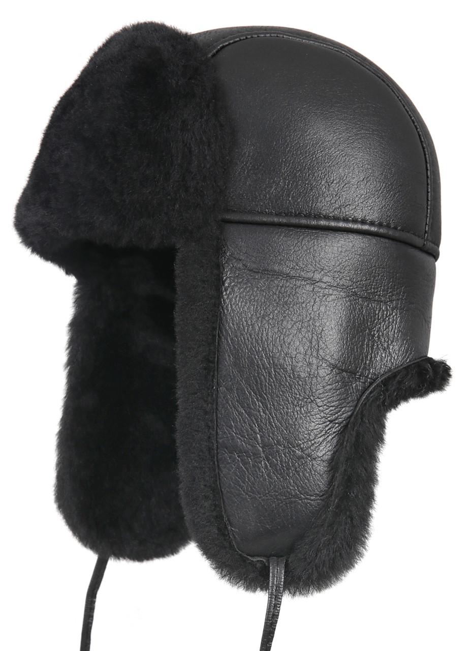 294c93f2 ... Aviator Shearling Sheepskin Fur Hat - Solid Black. Image 1. Loading zoom