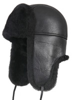 Aviator Shearling Sheepskin Fur Hat - Solid Black