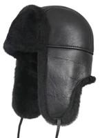 Aviator Shearling Sheepskin Fur Hat - Solid Black