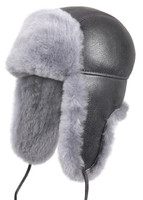 Shearling Sheepskin Aviator Winter Fur Hat - Antrasit