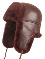Shearling Sheepskin Aviator Fur Hat - Brick Color