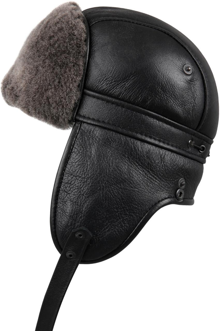 f3b7ddb55 Shearling Sheepskin Biker Trapper Winter Fur Hat - Black