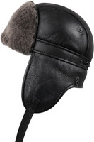 Shearling Sheepskin Biker Trapper Winter Fur Hat - Black