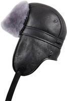 Shearling Sheepskin Biker Trapper Winter Fur Hat - Antrasit