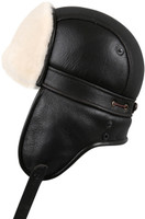 Shearling Sheepskin Biker Trapper Fur Hat - Brown Beige