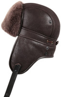 Shearling Sheepskin Biker Trapper Winter Fur Hat - Brown