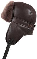 Shearling Sheepskin Biker Trapper Winter Fur Hat - Brown