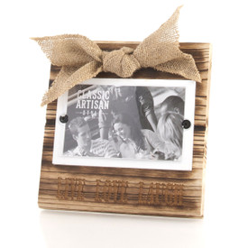 "Wood Frame with Burlap Bow 3.5""x5"" Picture"