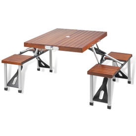 Wood Picnic Table with 4 Seats
