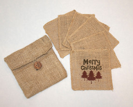Holiday Burlap Coasters (6) in Burlap Pouch
