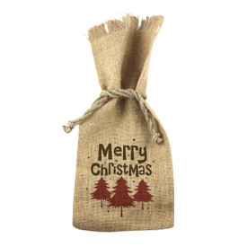 Holiday 1 Bottle Jute Tote