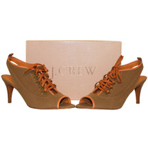 J.Crew Jamie Peep-toe Booties Heels Leather & Canvas Size 9