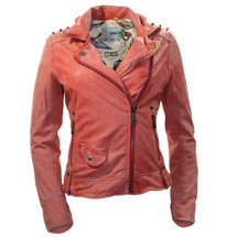 Pre-owned Doma Salmon/orange Studded Leather Jacket MSRP $598