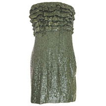 Free People Strapless Ruffled Sequin Party Dress Moss (6)