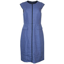 Pre-owned J. Crew Patch-Pocket Sheath Dress in Tipped Linen Heathered Blue (8)